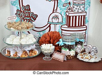 세트, 사탕, 공상, 단 것, 집에서 만든, 테이블