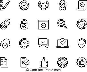 세트, 상징, 표시, 표, 선, 증명서, 아우트라인, 찬성하다, 확인, 통제, 수표, 질,...