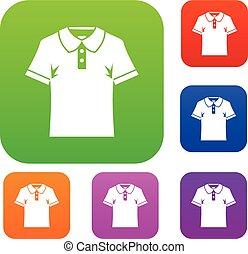 세트, 셔츠, 색, 사람, 수집, 폴로