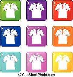 세트, 셔츠, 아이콘, 사람, 폴로, 9