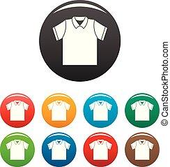 세트, 셔츠, 아이콘, 색, 날씬한, 폴로