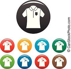 세트, 셔츠, 아이콘, 색, 볼링, 폴로