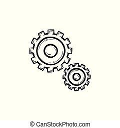 세트, 아우트라인, 낙서, 2, 손, 은 설치한다, 그어진, icon.