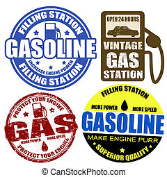 세트, 의, 가솔린, 은 각인한다, 와..., 상표