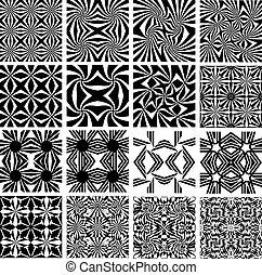 세트, 의, 단색화, 기하학이다, seamless, patterns.