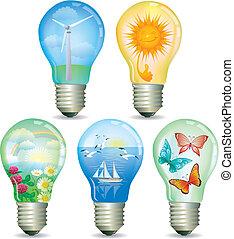 세트, 의, 떼어내다, eco, 램프