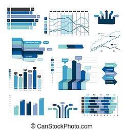 세트, 의, 사업, 바람 빠진 타이어, 3차원, 디자인, graph., 파랑, infographics, charts.