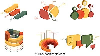 세트, 의, 사업, 바람 빠진 타이어, 3차원, 디자인, graph., infographics, charts.