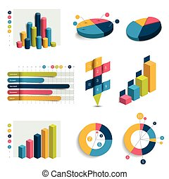 세트, 의, 사업, 3차원, 디자인, 그래프, charts., colummn, 입방체, 원, design., infographics.