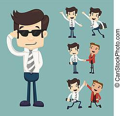 세트, 의, 실업가, 특성, 은 자세를 취한다