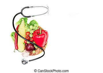세트, 의, 여러 가지이다, 신선한 야채, 과일, 와..., 청진기, 고립된, 백색 위에서, 건강에 좋은 음식, 와..., 생존, 개념