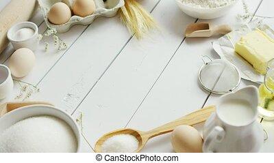세트, 의, 요리 성분, 와..., 도구