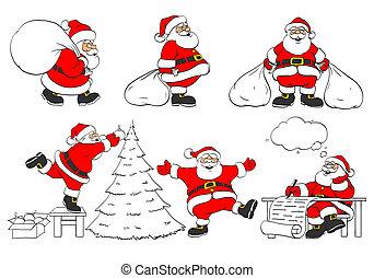 세트, 의, 쾌활한, 크리스마스, santa, clauses, 에서, 다른, 은 자세를 취한다