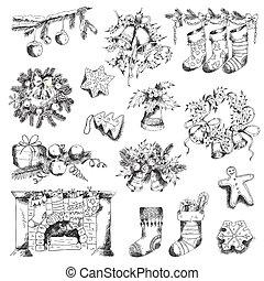 세트, 의, 크리스마스, 성분, -, 치고는, 디자인, 와..., 스크랩북, -, 에서, 벡터