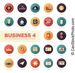 세트, 의, 현대, 바람 빠진 타이어, 디자인, 사업, infographics, 아이콘