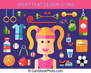 세트, 의, 현대, 바람 빠진 타이어, 디자인, 스포츠, 적당, 와..., 건강한 생활양식, 나