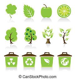 세트, 의, 12, 환경, 녹색, 아이콘, 치고는, 너의, 디자인, 생각