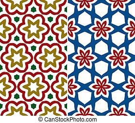 세트, 의, 2, seamless, 꽃의 패턴