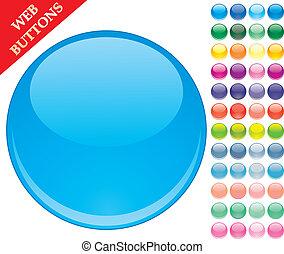 세트, 의, 49, 착색되는, 유리, 버튼, 광택 인화, 아이콘, 웹, 구체, 벡터, 삽화