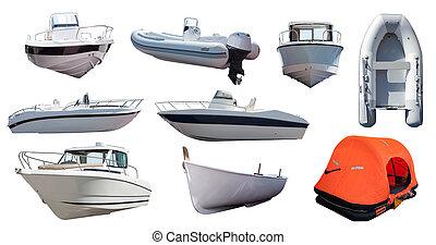 세트, 의, boats., 고립된, 위의, 백색