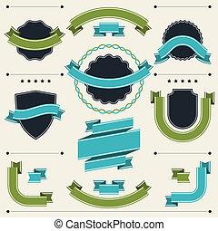 세트, 의, retro, 은 휘장을 단다, 상표, 리본, 와..., 디자인, elements.