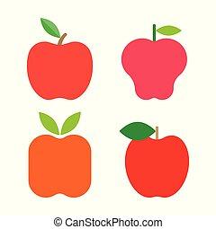 세트, 익지 않은 사과, 은 잎이 난다, 신선한, 빨강