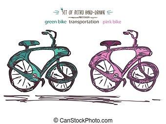 세트, 포도 수확, 자전거, 벡터, illustration., retro, hand-drawn, 자전거, 에서, 잉크, 솔, 밑그림, 스타일, 고립된, 백색 위에서, 배경