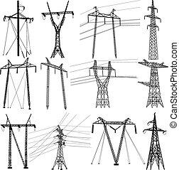세트, 힘, 전기, lines., 전달, 벡터, 삽화