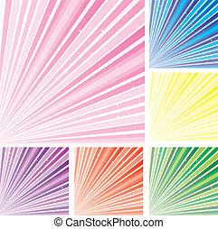 세트, 8, 다채로운, 떼어내다, 배경, 지구, 은 주연시킨다, 벡터, 삽화, 부분