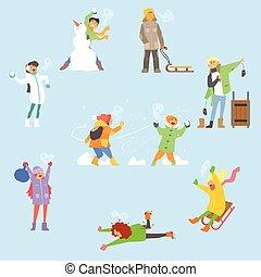 세트, activities., 겨울, 삽화, 벡터, 재미