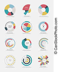 세트, info-graphic, 도표, 파이