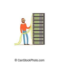 센터, 일, admin, 지원 시스템, 삽화, 서버, 하드웨어, 장비, 벡터, 유지, 행정관, 자료