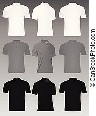 셔츠, set., 사람, 회색, 검정, t, 폴로, 백색