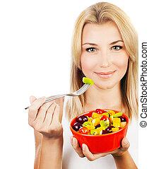 소녀, 과일, 먹다, 남자가 멋을 낸, 샐러드
