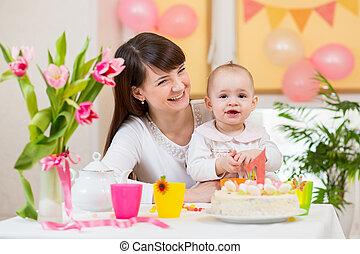 소녀, 기념일을 축하하다, 아기, 처음, 어머니, 생일