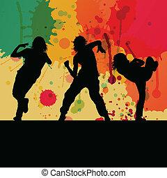 소녀, 댄스, 실루엣, 벡터, 배경, 개념