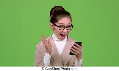 소녀, 사무실 매니저, 은 이다, 행복하다, 이긴다, 그만큼, lottery., 녹색, screen.,...