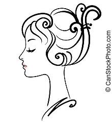 소녀, 삽화, 얼굴, 벡터, 아름다운