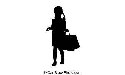 소녀, 쇼핑, 검정, 실루엣, bags., 거의, 걷기, 아름다운, 의복