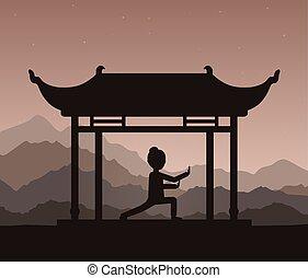 소녀, 실행하는 것, qigong, 또는, taijiquan, 식, 에서, 그만큼, evening.