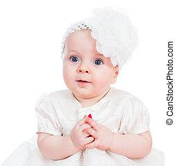 소녀, 아기, 귀여운, 고립된, 백색