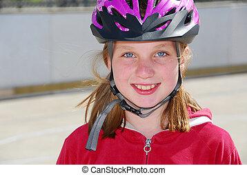 소녀, 아이, 헬멧
