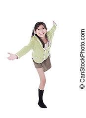 소녀, 에서, 녹색의 스웨터, 넘어서 기대는, 에서, 환영