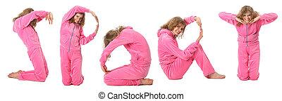소녀, 에서, 핑크, 스포츠, 천, 표현한다, 낱말, 스포츠