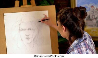 소녀, 예술가, 페인트, 초상, 의, 여자, 와, pencil., 4k