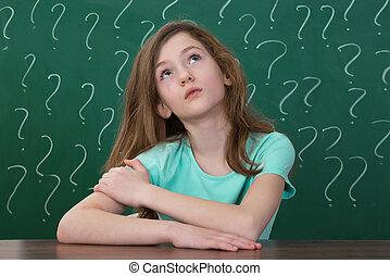 소녀, 와, 물음표, 그어진, 통하고 있는, 그만큼, 칠판