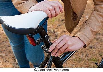 소녀, 와..., 자전거