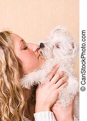 소녀, 와, a, 백색, 강아지