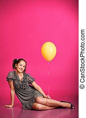 소녀, 와, balloon