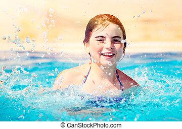 소녀, 웅덩이, 행복하다